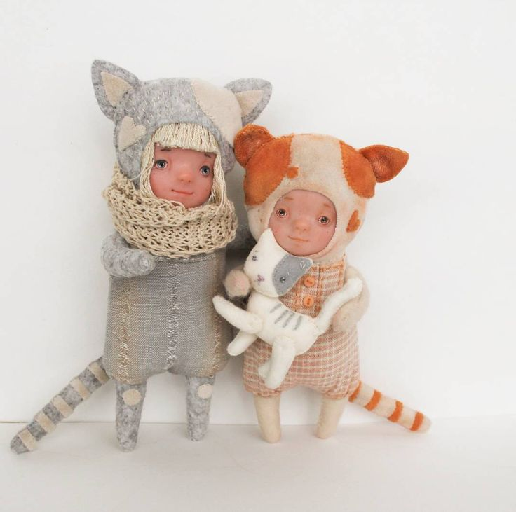 art doll animal hand made dolls kitty cat cat girl #catartwork,#kittens,#teddydoll,#polymerclaydoll