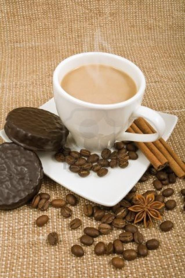 Fresh-ground coffee...with an aroma of cinnamon...steaming in a mug...with chocolate-covered Oreos?? Day made.   #coffee