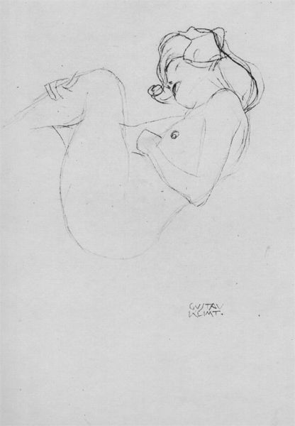 "Female Nude with bent shanks, Study for ""Danae"" by Gustav Klimt. 1905"