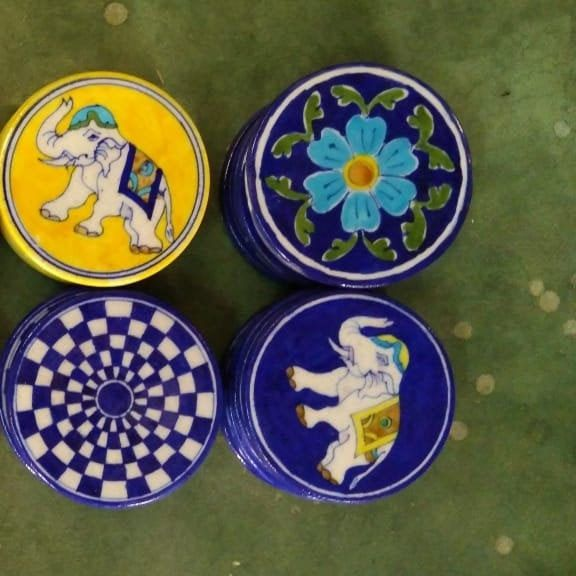 Free Shipping Handmade Blue Pottery Assorted Design Ceramic Etsy Pottery Coasters Blue Pottery Handmade Christmas Gifts