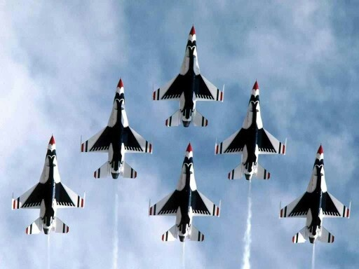 Thunderbirds painted in red white and blue