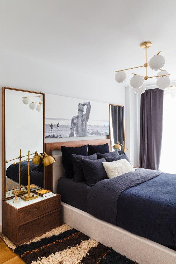 Travis London Art Deco Apartment Home Tour Pictures navy blue bedding master bedroom