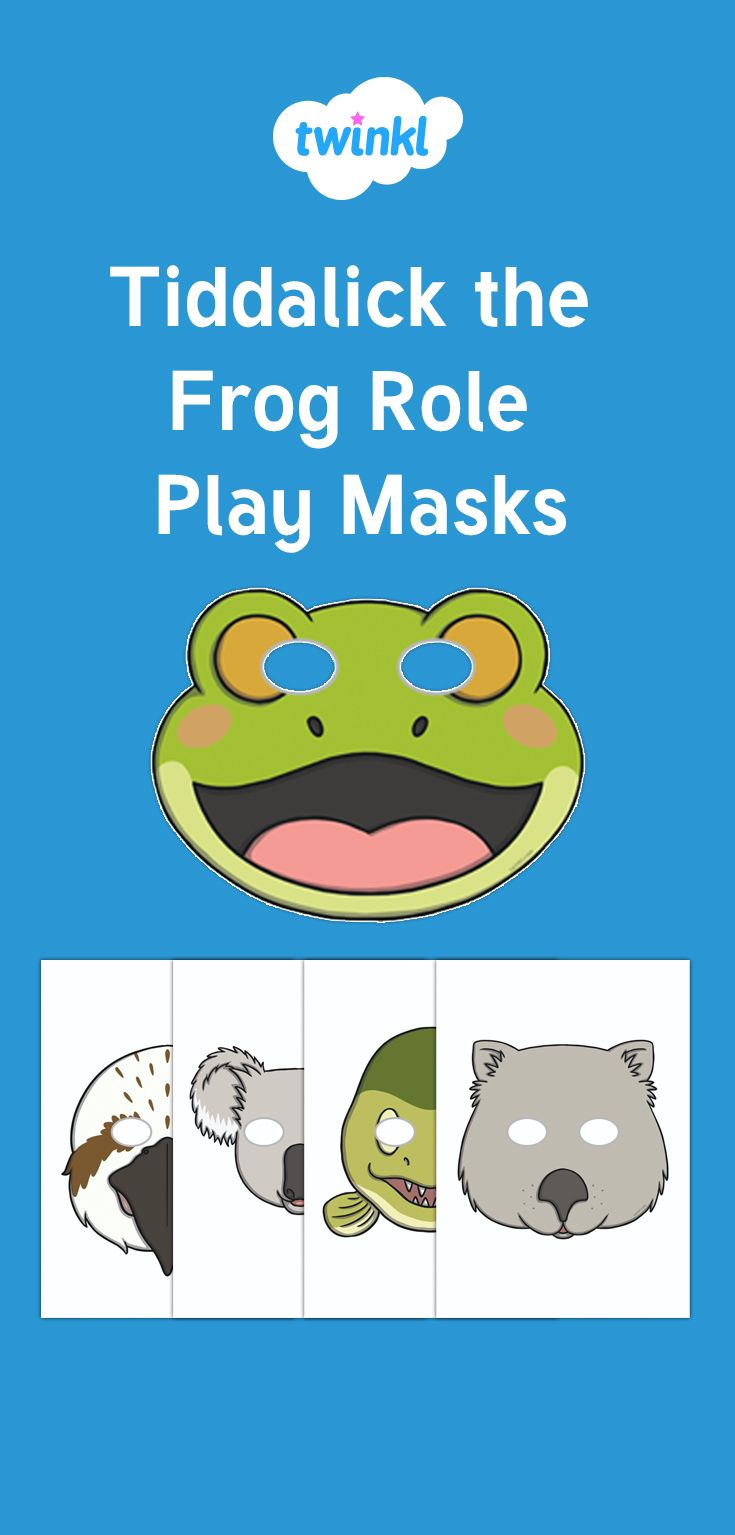 Tiddalick the Frog Role Play Masks - Fantastic fun and perfect for encouraging your children to really take on their roles, role play masks are an absolute must for the Tiddalick the Frog role play theme.