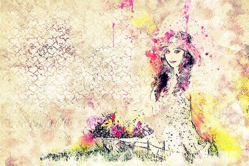 Niña, Sesión, Flores, Arte, Resumen