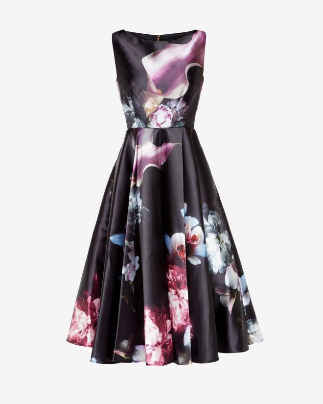 Ethereal Posie print cut-out dress - Black | Dresses | Ted Baker