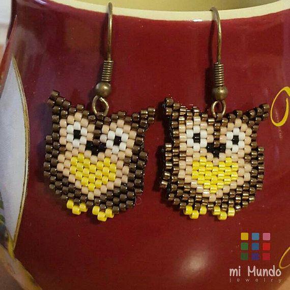 Browl owl beaded earrings by Mi Mundo Jewelry  https://www.etsy.com/listing/268619789/owl-beaded-earrings-brown-owl-earrings