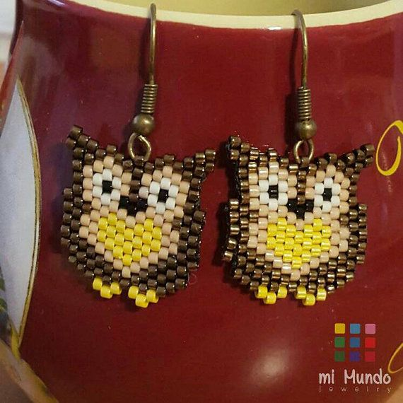 Browl owl beaded earrings by Mi Mundo Jewelry  https://www.etsy.com/listing/268619789/owl-beaded-earrings-brown-owl-earrings