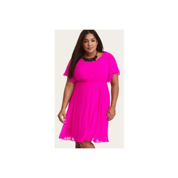 Torrid Hot Pink Chiffon Flutter Sleeve Skater Dress ($49) ❤ liked on Polyvore featuring dresses, black, plus size, skater dresses, plus size skater dress, fit and flare mini dress, chiffon dress, women plus size dresses and plus size dresses