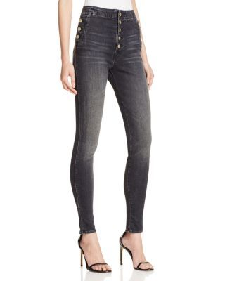 J Brand Natasha Sky High Skinny Jeans in Anthracite | Bloomingdale's
