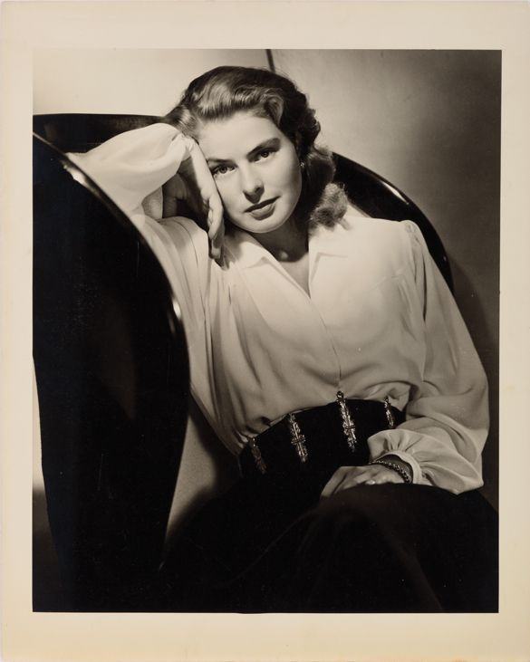 Oversize exhibition portrait of Ingrid Bergman by Ernest A. Bachrach. Gelatin-silver matte 16 x 20 in. double-weight print of Ingrid Bergman for Notorious (RKO, 1946) by Ernest A. Bachrach, from his private collection. The photographer has perfectly distilled here the titillating dichotomy of Bergman's character for Alfred Hitchcock's masterpiece of sexual frustration and self-sacrifice.