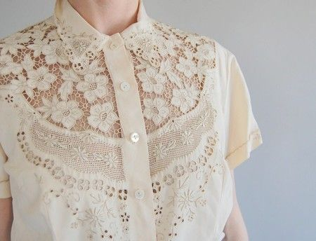 lace yoke button blouse with a pretty collar, this with the gold lanvin skirt would make the best casual wedding outfit!