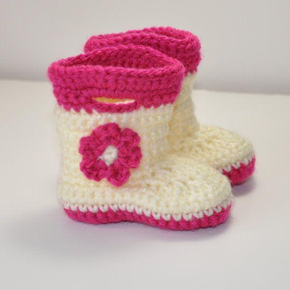 Baby Booties Baby Galoshes Baby Rain Boots by threekittensknitting, $15.00