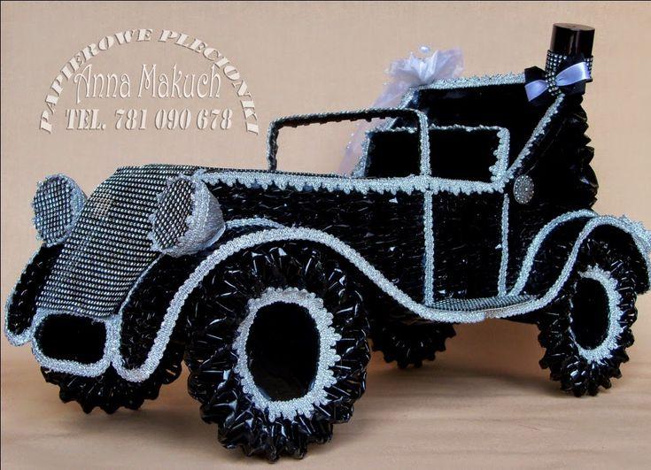 Papierowe plecionki: papierowa wiklina - samochód