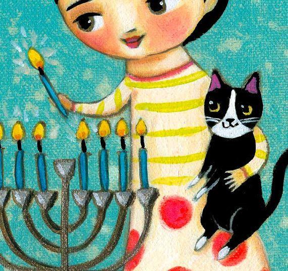 Velas de iluminación Menorah para Hanukkah pintura por tascha