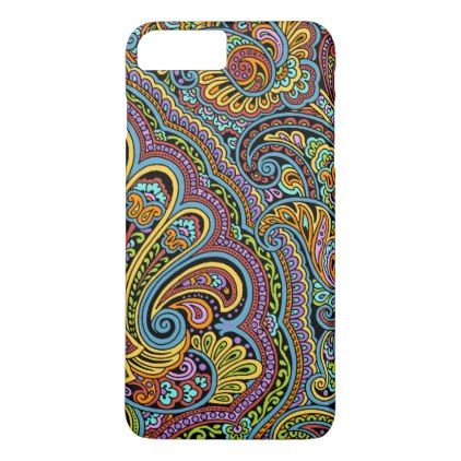 Colorful Hand Drawn Paisley Floral Motif iPhone 8 Plus/7 Plus Case - fun gifts funny diy customize personal