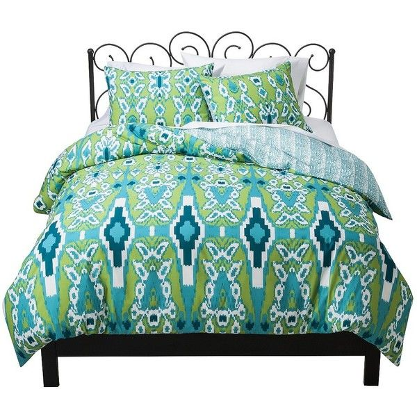 Xhilaration Ikat Reversible Duvet Cover Set ($30) ❤ liked on Polyvore featuring home, bed & bath, bedding, duvet covers, beds, xhilaration, peach bedding, xhilaration bedding and ikat bedding