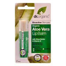 Dr. Organic Lipbalm Aloe Vera 57 Ml  En beroligende, beskyttende og fugtgivende læbebalsam til tørre læber.