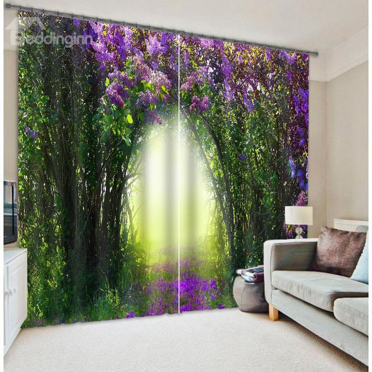 High Quality Green Tree Purple Flower 3D Blackout Curtain on sale, Buy Retail Price 3D Floral Curtains at Beddinginn.com
