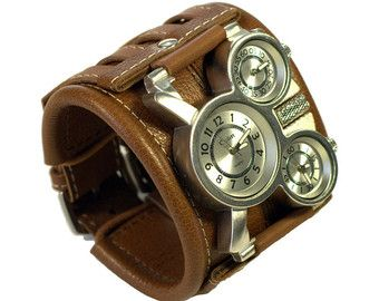 Para hombre pulsera de cuero de reloj de muñeca por dganin en Etsy
