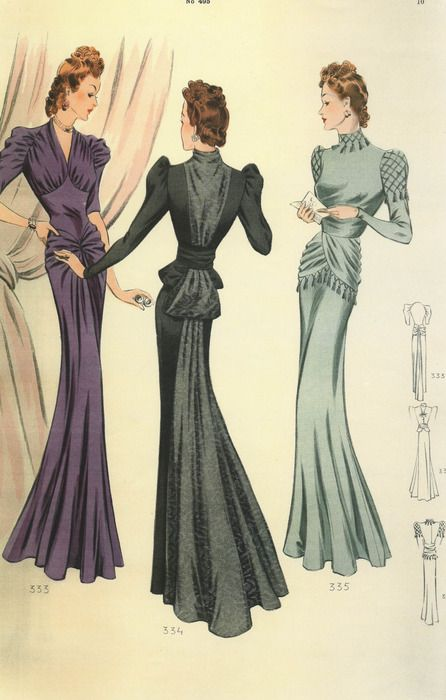 1940s elegant gowns color illustration print ad long evening gowns black purple blue peplum hip draping puff sleeves dress
