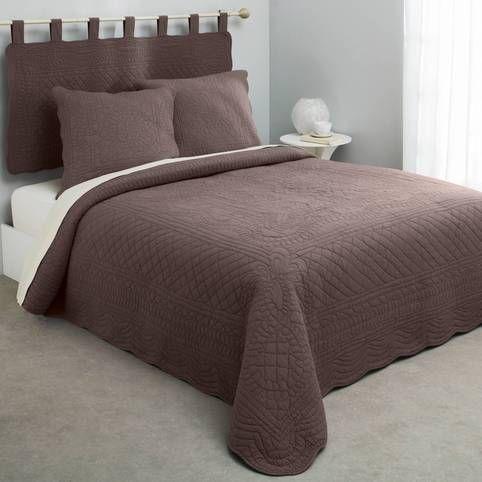 Jeté de lit boutis matelassé coton Tertio® - Taupe- Vue 1