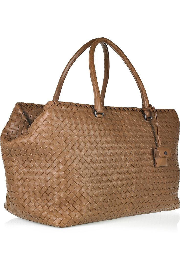 Bottega Veneta. Brick intrecciato leather weekend bag