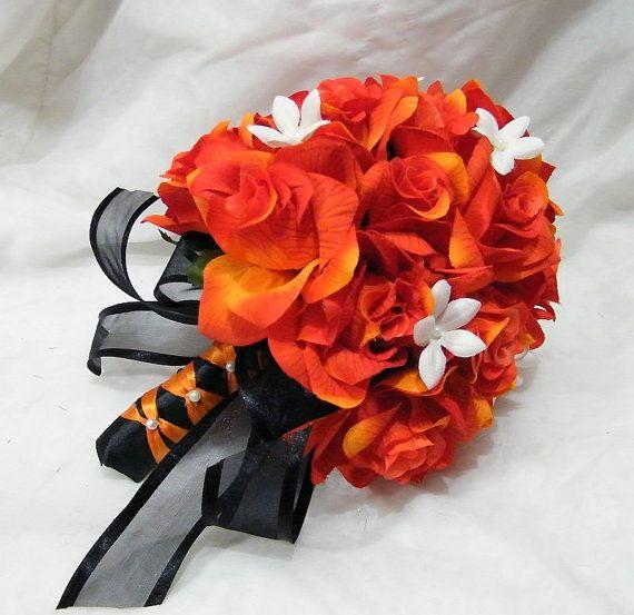 Fall Gerbera Daisy Bouquet BLACK / ORANGE roses 2...