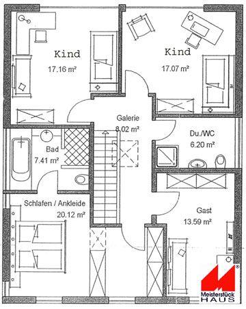 Grundrisse Haustyp: KfW 60-Haus im Bauhaus-Stil von Meisterstück-HAUS