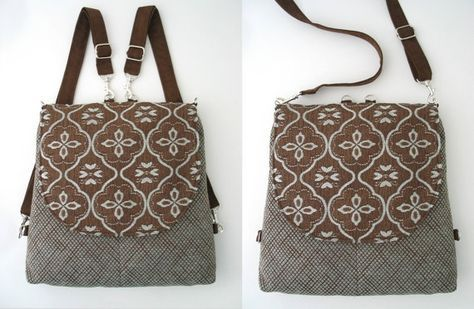 backpack purse converts to messenger blue and brown от daphnenen