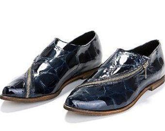 VENDITA cuoio Shos. Scarpe Oxford. Scarpe Blue Navy.  Scarpe piatte. scarpe oxford di cerniera. Midnight Black Oxford. scarpe da donna. Scarpe fatte a mano.