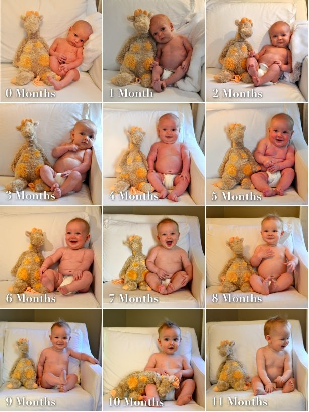 Taking monthly pictures in the same place. See how baby grows and changes so quickly!