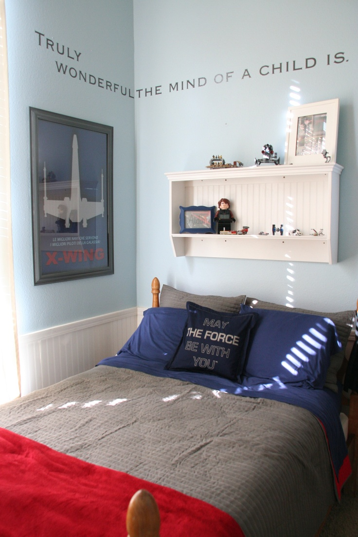 Star Wars Boyu0027s Room Yoda Quote   Vinyl Lettering From FastSigns Quilt    Target May The Force Pillow   Pottery Barn Kids Awesome Poster   Made By An  Awesome ...