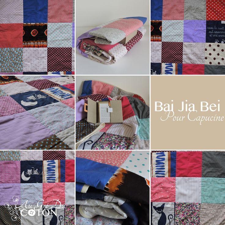 Bai Jia Bei pour Capucine #baijiabei #Naissance  Assemblé en Juin 2017 Nombre de voeux : 30 Dimensions : 100 cm x 120 cm Composition : Coton Couleur dominante : Multicolore