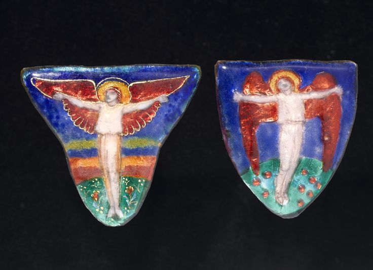 Unmounted shaped plaquette of copper, enamels and foil, decorated with a full length figure of an angel with arms outstretched, entitled 'Earth Spirit' on reverse: Scottish, Edinburgh, by Phoebe Traquair, 1912