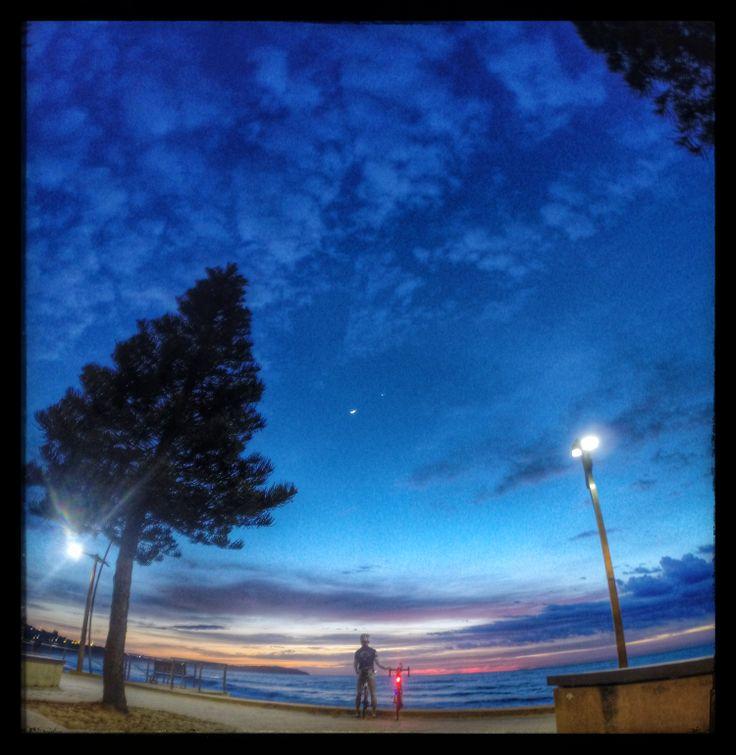 Dawn Patrol Ride.Sunrise, Dee Why Beach with the Moon & Venus.