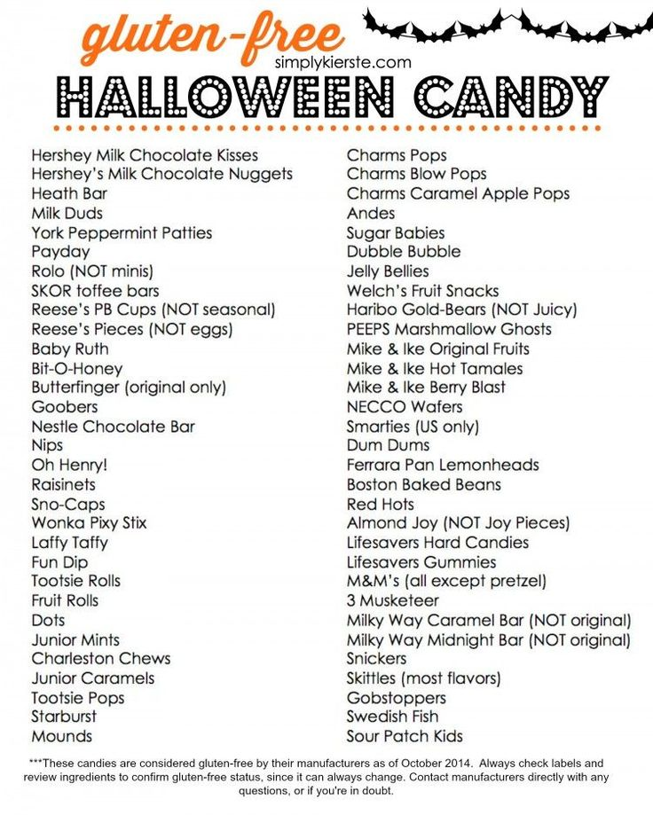 A printable list of Gluten Free Halloween Candy for easy reference! | simplykierste.com