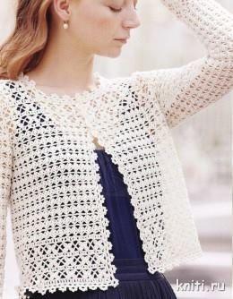 Hermosa Chaqueta blanca con mucha distinción   Una chaqueta que vale la pena tejer en crochet.  Hermosa, fácil de tejer, fina y para vestir...