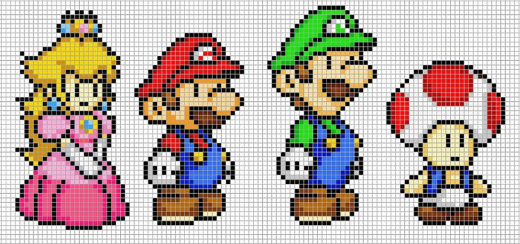 Mario, Luigi, Peach and Toad by *Hama-Girl on deviantART