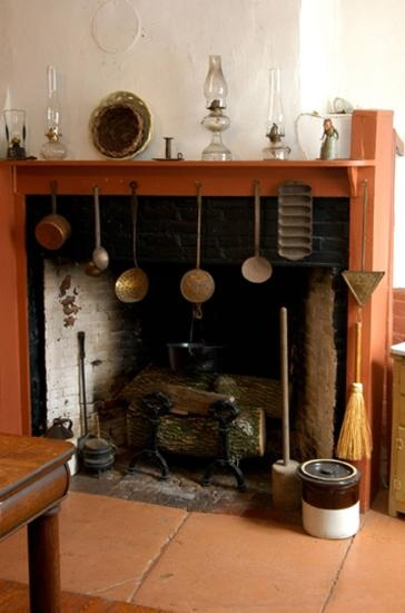 Colonial Fireplace With Cooking Tools My Dream Home Kitchen Hearth