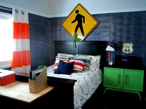 Farbgestaltung fürs Jugendzimmer – 100 Deko- und Einrichtungsideen - industriell wandgestaltung bett schwarz kopfteil stil jugendzimmer