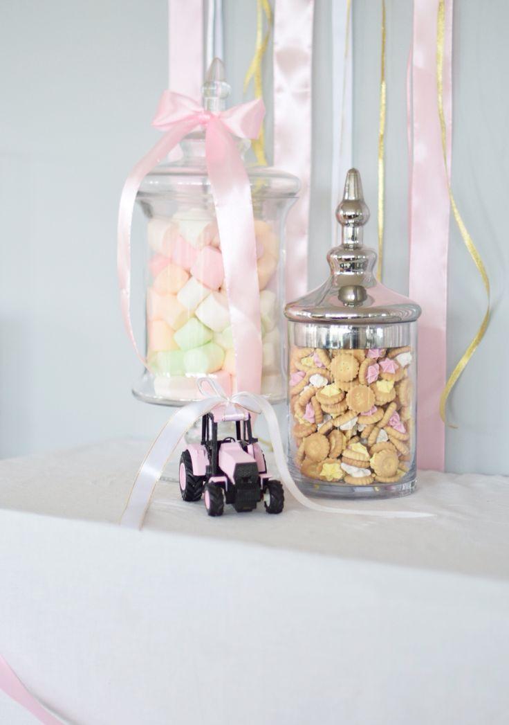 Pink baptism dåp cute diy  gold candy