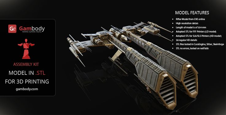 Eve Rifter 3D Model for Printing  | Assembly figure - Space Ships for 3D Model for printing #eveonline #3dprintings