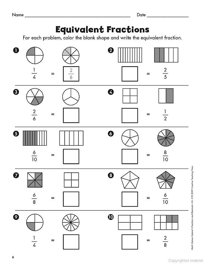 Comparación fracciones
