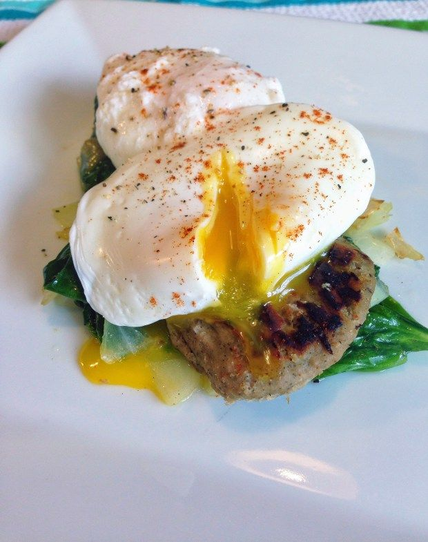 Poached Eggs over Turkey Sausage and Wilted Spinach
