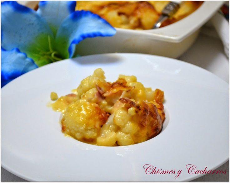 Chismes y Cacharros: Coliflor con Bacon en salsa Cheddar