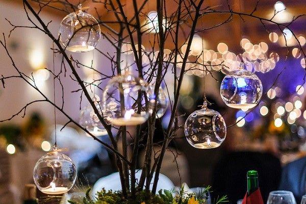 szklane wiszące lampiony  na wesele, dekoracje ślubne, leśne wesele