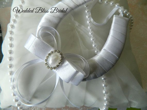Wedding Bridal Horseshoe charm  White Satin  by WeddedBlissBridal