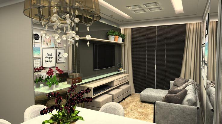 sala com painel em MDF, puff's e prateleira de vidro