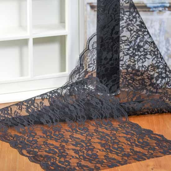 Vintage Inspired Black Lace Table Runner