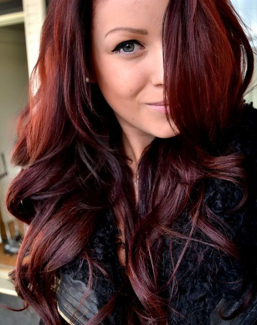 dark brown burgundy hair with highlights....maybe a little more brown and no highlights for a more natural coloring